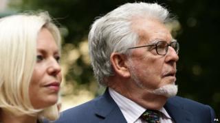 Bindi Harris and Rolf Harris arriving at court