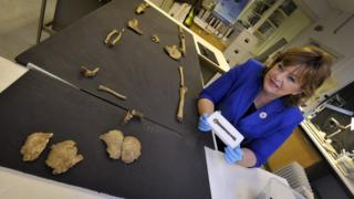Fiona Hyslop with viking bones
