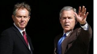 Tony Blair with President George W Bush