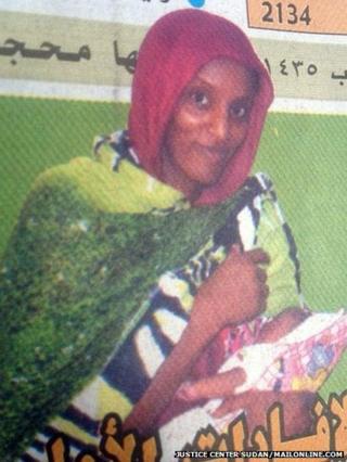 Meriam Ibrahim holding her daughter