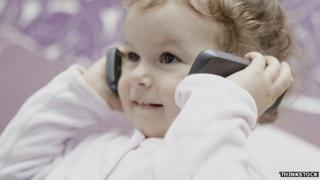 Baby with smartphones