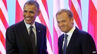 Obama and Donald Tusk, Polish PM