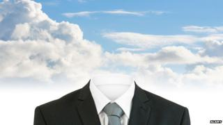Empty suit against blue sky background
