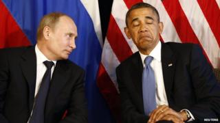 U.S. President Barack Obama (R) meets with Russia's President Vladimir Putin in Los Cabos, Mexico, in this June 18