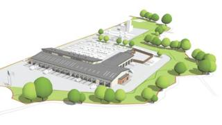 Impression of planned fire and ambulance station for Wrexham