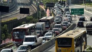 Traffic jam during Sao Paulo strike