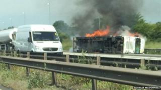 Lorry crash on M6