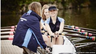 Girls rowing