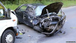 Crash scene near Crawley