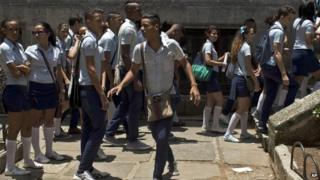 Students come to school for an exam in maths in Havana. 9/06/2014