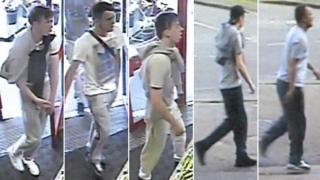 CCTV released by Cambridgeshire Police of five men