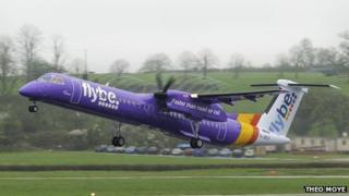 A Flybe aircraft taxies at Gatwick airport