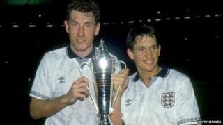 Terry Butcher (left) and Gary Lineker in their England days