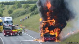 Double decker bus fire on M11