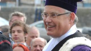 Guernsey Bailiff Richard Collas inspecting the church parade on Liberation Day 2014