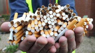 A picture of counterfeit cigarettes seized by customs officers at Birmingham Airport.