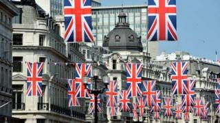 Union Jack flags in London's Regent Street
