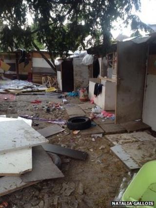Abandoned Roma camp in Pierrefitte-sur-Seine, near Paris, 16 June (image: Natalia Gallois)