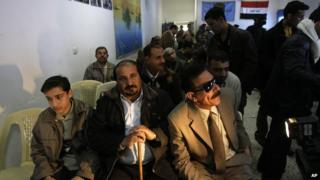 Relatives of victims at a hearing in 2008