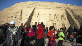 Tourists at Abu Simbel in Egypt