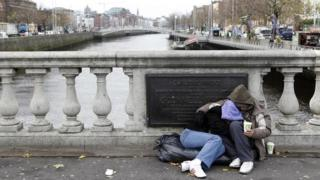 Homeless people begging for money on O'Connell bridge in central Dublin (file photo)