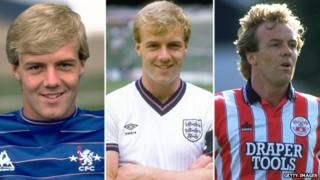 Kerry Dixon playing for Chelsea, England and Southampton
