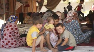Many families have fled the ongoing violence in the Iraqi city of Mosul