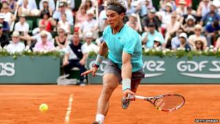 Rafael Nadal playing at the French Open