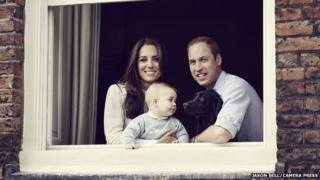 Duchess of Cambridge, Prince George and Duke of Cambridge with Lupo the dog
