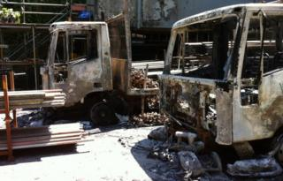 Lorries destroyed in the fire