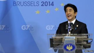 Shinzo Abe at the G7 summit in Brussels