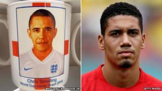 Barack Obama on England mug (left) and England defender Chris Smalling