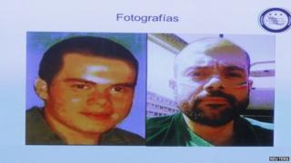 A screen displays photographs of Luis Fernando Sanchez Arellano during a news conference in Mexico City on 24 June, 2014