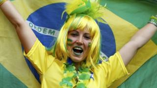 Brazil fan at the 2014 World Cup