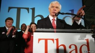 "US Senator Thad Cochran (R-MS) speaks to supporters during his ""Victory Party"" after holding on to his seat after a narrow victory over Chris McDaniel at the Mississippi Childrens Museum in Jackson, Mississippi 24 June 2014"