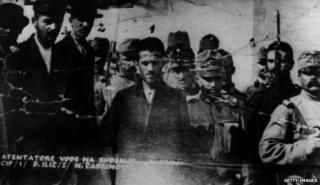 Gavrilo Princip, Danilo Ilitch and N Cabrinovic are conducted to the courtroom after being accused of the shooting of Franz Ferdinand and Sophie