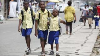June 2014, pupils going to school in Lagos, Nigeria
