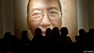 A picture of Liu Xiaobo seen inside the Nobel Peace Center on the day of The Nobel Peace Prize ceremony in Oslo 10 December 2010