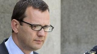 Andy Coulson leaving the Old Bailey