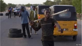 Civilian JTF checkpoint in Maiduguri