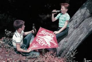 Boys drinking soda 1950s