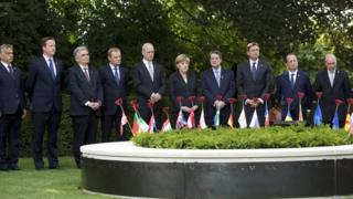 EU leaders during the inauguration of a Peace Bench at the Menin Gate in Ypres, Belgium on on 26 June 2014.