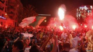 Algerian fans celebrate in Algiers - 26 June 2014