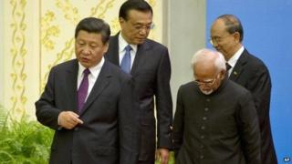 Xi Jinping with Premier Li Keqiang, Indian Vice-President Hamid Ansari and Myanmar President Thein Sein - 28 June
