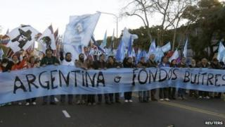 Argentine protesters in Buenos Aires, 20 June 2014