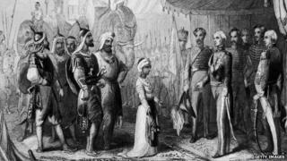 The young maharajah submits to Sir Henry Hardinge at the end of the Anglo-Sikh War