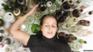 Woman passed out with empties