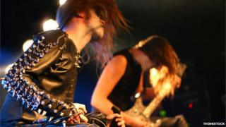 Head-banging heavy metal band