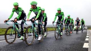 The Belkin cycling team in action in Yorkshire