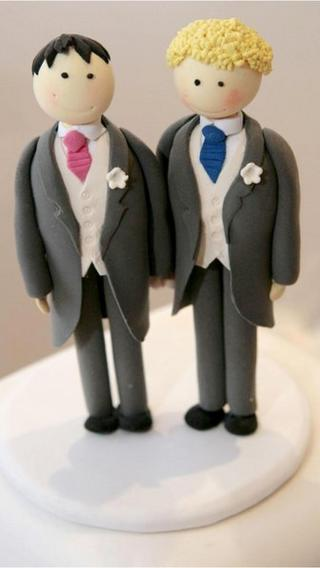 Male cake decorations for gay wedding cake